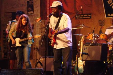 Debbie Bond onstage with Willie King