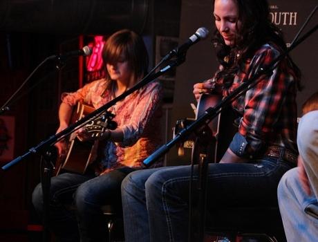 "Erin Enderlin tuning up ""Jimmy Dickens"", Tin Pan South 2013, Station Inn, photo - Brad Hardisty"