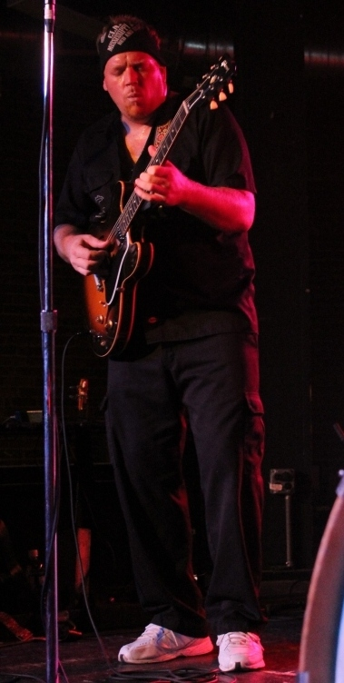Lightnin Malcolm switching to guitar, North Mississippi Allstars at Cannery Ballroom, Sept 2013, photo - Brad Hardisty