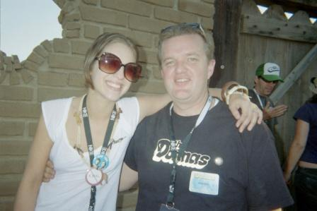 Brad Hardisty with Allison Robertson, The Donnas, Desert Moon event at Pappy & Harriets, Joshua Tree, CA, 2005